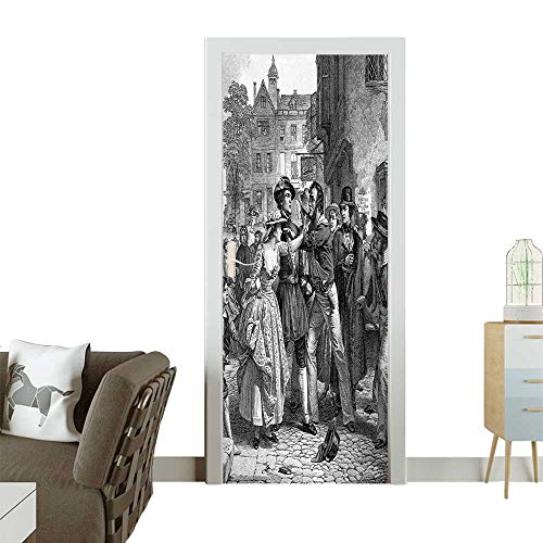 Homesonne Door Sticker Wallpaper an Engraved Image Portrait The Navy Pr Gang Sailors from Victorian Fashion and Various patternW32 x H80 INCH