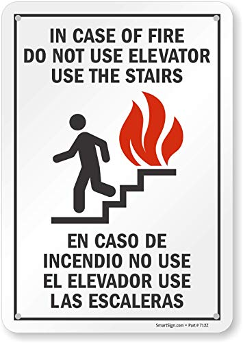 """SmartSign """"In Case Of Fire Do Not Use Elevator, Use Stairs"""" Bilingual Sign 