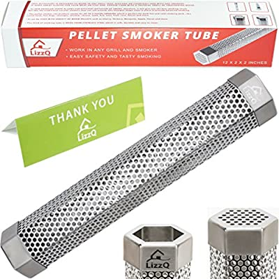 "LizzQ Premium Pellet Smoker Tube 12"" - 5 Hours of Billowing Smoke - for any Grill or Smoker, Hot or Cold Smoking - Easy, safety and tasty smoking - Free eBook Grilling Ideas and Recipes"