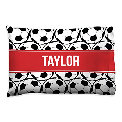 Personalized Soccer Ball Pillowcase   Soccer Pillows by ChalkTalk Sports   Red