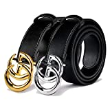 Luxury Gold/Silver Buckle GG Black genuine Leather Unisex Belt for Men or Women Pants Jeans Shorts Dresses ~ 3.8cm Belt Width
