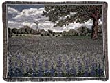 Texas Bluebonnets Field Tapestry Blanket Throw Mid-Size USA Made