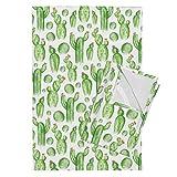 Roostery Cactus Tea Towels Desert Green Watercolor Nature Southwest Succulent by Heatherdutton Set of 2 Linen Cotton Tea Towels