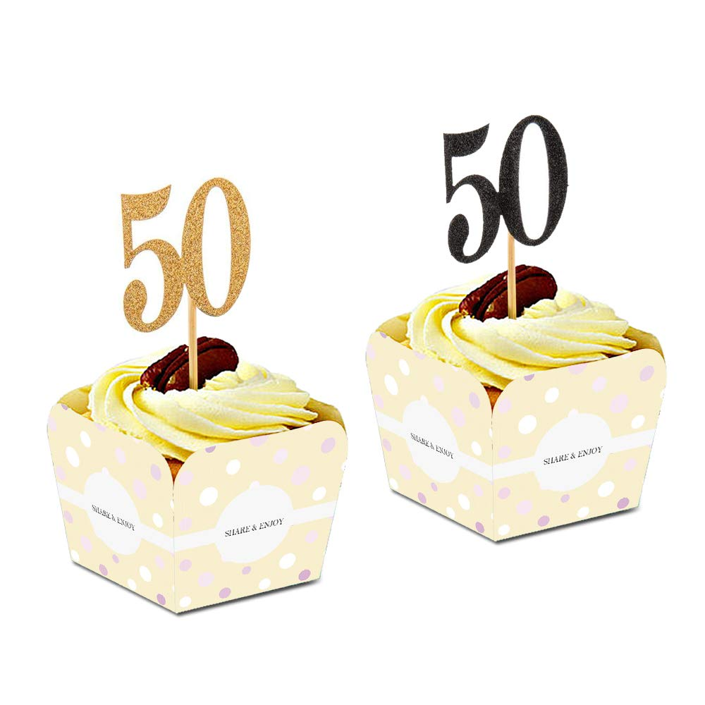 COSYLOG 50th Anniversary Cupcake Toppers Picks Birthday Party Decorations Glitter Gold And Black