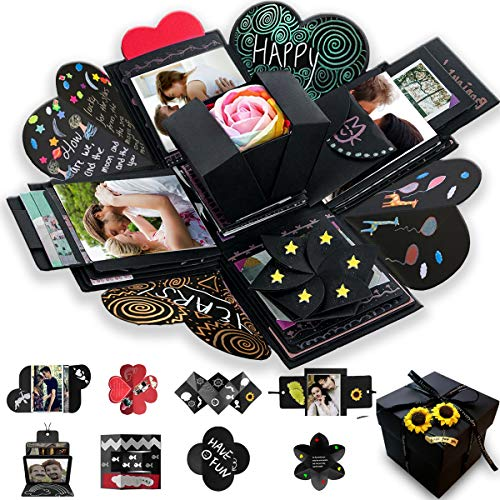 Wanateber Creative Explosion Gift Box DIY  Love Memory Scrapbook Photo Album Box as Birthday Gift Wedding or Valentine#039s Day Surprise Box Black