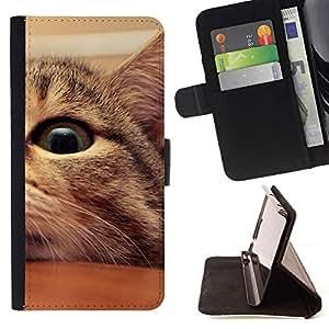 Momo Phone Case / Flip Funda de Cuero Case Cover - Mestizo Americano de Pelo Corto Manx Cat Eye; - Samsung ALPHA G850