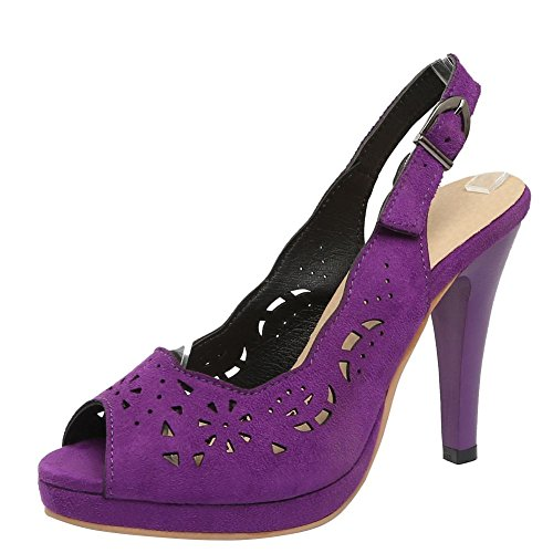 Mee Shoes Women's Fashion Buckle High Heel Fish Mouth Sandals Purple VQCy2H