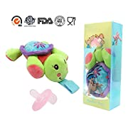 STAR-FLY Safe infant Pacifiers, Lovely No Toxicity Removable infant Pacifiers Holder with Plush Animal Toy Baby Orthodontic Nipples(Turtle)