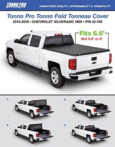 Tonno Pro Tonno Fold 42-108 TRI-FOLD Truck Bed Tonneau Cover 2014-2018 Chevrolet Silverado/GMC Sierra 1500, 2015-2018 Silverado 2500 / GMC Sierra 2500, 2500 HD   Fits 6.6' Bed