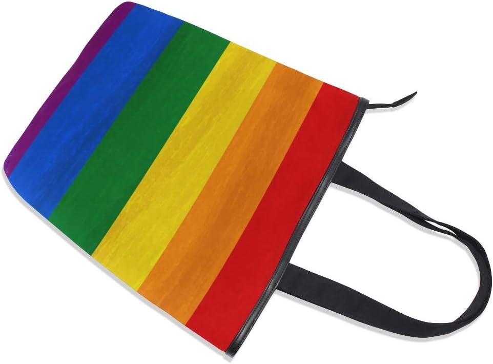compras trabajo Bolso de mano de lona reutilizable para mujer playa viajes para escuela WowPrint Rainbow Gay Pride