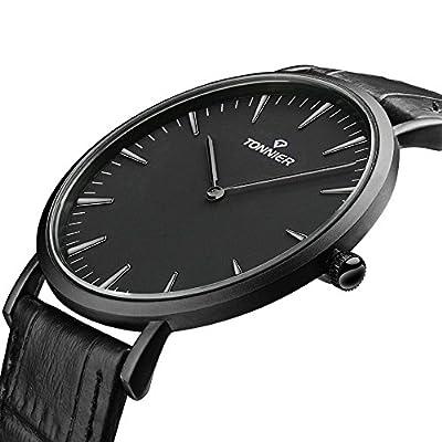 Tonnier Stainless Steel Slim Men Watch Quartz Watch Black Face from Tonnier