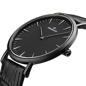 Tonnier - Reloj de cuarzo en acero inoxidable con diseño estilizado para caballero, esfera negra