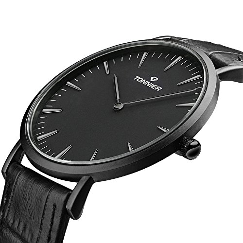 Tonnier Black Leather Band Stainless Steel Slim Men Watch Quartz Watch from Tonnier