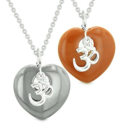 (Ancient Tibetan OM Amulets Love Couples or Best Friends Magic Puffy Hearts Red Jasper Hematite Necklaces)