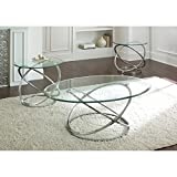 Steve Silver Orion Oval Chrome and Glass Coffee Table Set For Sale