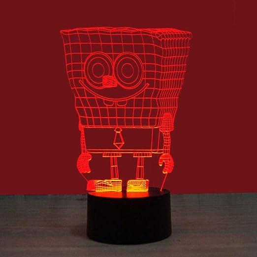 3D Night Light Bob Esponja Base Negra LED Lámpara de Mesa Luces de ...