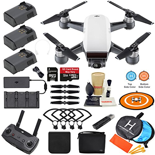 DJI Spark Drone Quadcopter Fly More Combo (Alpine White) Bundle Kit, includes 3 Batteries