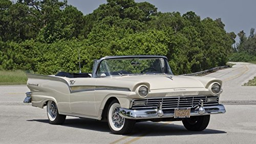 1957 Ford Sunliner Convertible Cream White Picture on Mouse Pad mousepad Classic Vintage Old Cars Hot Rods Speed Computer Desktop Supplies