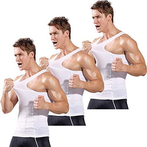 Mens Compression Shirt to Hide Gynecomastia Moobs Slimming Body Shaper Vest (White_3 Pack, Large)