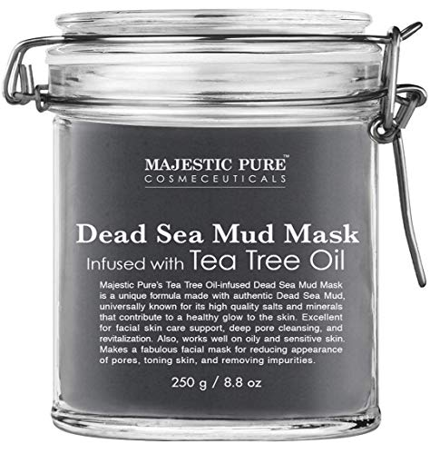 (MAJESTIC PURE Dead Sea Mud Mask Infused With Tea Tree Oil - Natural Face and Skin Care For Women and Men - Reduces Acne and Blackhead - Promotes Youthful Skin - 8.8 oz)