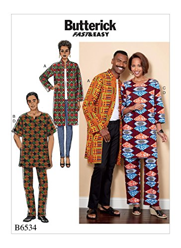 Butterick Patterns B6534XM0 Misses'/Men's Coat, Tunic and Pants Sewing Pattern, XM (SML-MED-LRG)