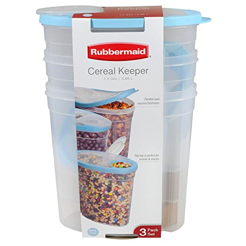 Rubbermaid 1.5 Gallon Cereal Keeper Dry Food Storage Container, 3-Pack, Sky (Landscape Stemware)