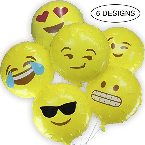 Amazon.com: Emoji Balloons - Variety 6 Pack Helium Mylar 18\u0026quot; Emoji ...