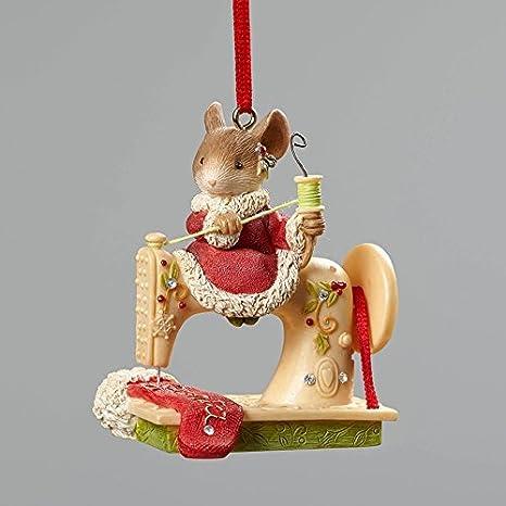 Enesco corazón de Navidad ratón Adorno de máquina de Coser 2.56 in by: Amazon.es: Hogar
