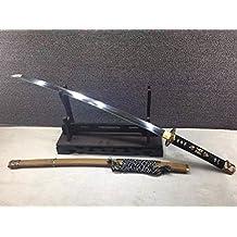 "Nihontou Tachi/Katana/T10 high carbon steel/Wood scabbard/Alloy tosogu/Full tang/Length 39"""