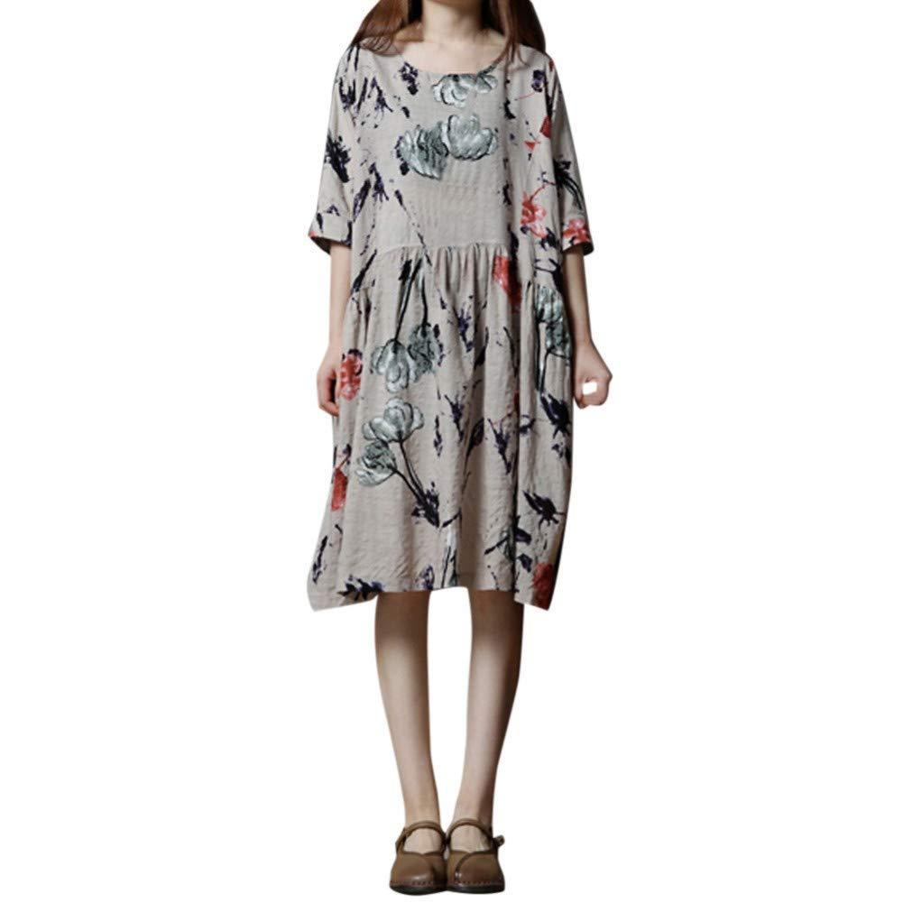 MBSDDH Dress Fashion Elegant Women Half Sleeve Floral Print O Neck Loose Short Dress Beige