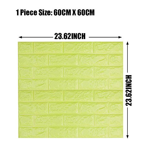 Green Color Foam Wallpaper Sticker For Boys Room Wall Decor, POPPAP 3D Foam Brick Panel Peel And Stick Wallpaper Self-adhesive Removable Wall Paper for TV Background, Children Room, Bedroom/ 20 PACK by POPPAP (Image #6)