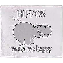 "CafePress - Hippo Happy - Soft Fleece Throw Blanket, 50""x60"" Stadium Blanket"