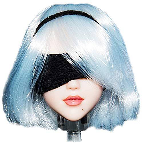 HiPlay 1/6 Scale Female Figure Head Sculpt, Short Hair, Eye Movable Doll Head for 12