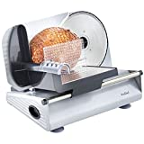 VonShef Precision Electric Food Slicer/Deli Meat Slicer with 3 Removable Stainless Steel Blades and Guard