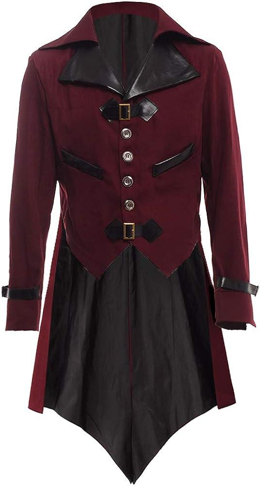 BLESSUME gótico Victoriano Tailcoat Steampunk VTG Escudo Chaqueta Víspera de Todos los Santos Cosplay Disfraz