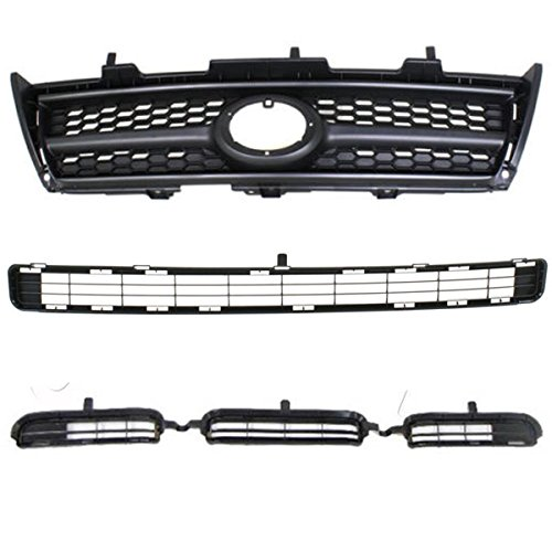 (Koolzap For 09-12 RAV4 2.5L Front Upper/Lower Bumper Grill Black Grille Assy 3-Piece Set )