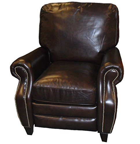 Cheap Barcalounger Briarwood II Leather Recliner Chair Double Fudge Top Grain Leather Push-Back Lounge Chair with Espresso Wood Legs