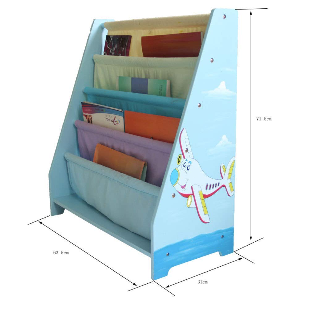 Blue WODENY Kid Bookcase Wooden Kids Canvas Book Shelf Books Rack Wooden Storage Children Bedroom Furniture for Boys Girls
