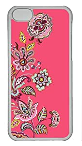 Shell Case for iphone 5C with Floral Pattern Red Background DIY Fashion PC Transparent Hard Skin Case for iphone 5C