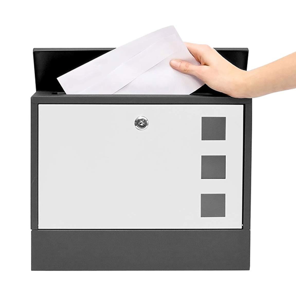 LRW ヴィラの郵便箱の壁の外に、ロック付きの屋外の箱、提案箱、錆びないと雨の証明メールボックス、白。   B07H8BQN46