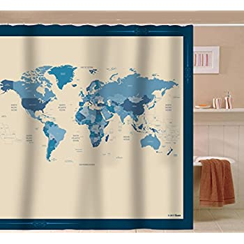Amazon saturday knight the world peva shower curtain home sunlit designer new world map quality fabric shower curtain with countries and ocean blue and beige gumiabroncs Gallery