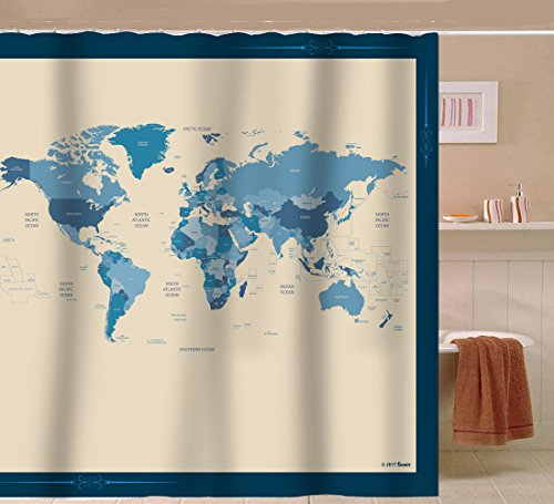Sunlit Designer New World Map Quality Fabric Shower Curtain with Countries and Ocean - Blue and Beige (Curtains Fabric Shower Designer)