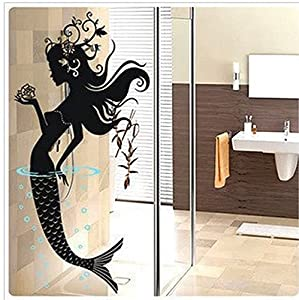 High Quality Mermaid Bathroom Wall Decal Sticker Living Room Stickers Vinyl Removable  Black Color High 120cm Part 12