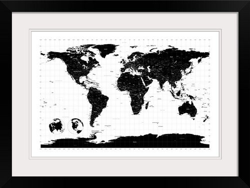 GreatBIGCanvas World Map with Longitude and Latitude lines marked by Michael Tompsett Photographic Print