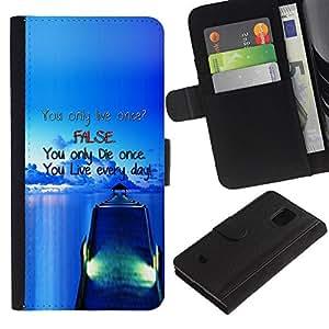 Planetar® Modelo colorido cuero carpeta tirón caso cubierta piel Holster Funda protección Para Samsung Galaxy S5 Mini (Not S5) (Not S5), SM-G800 ( Muelle Falso Blue Live Die Barco Mar Océano )