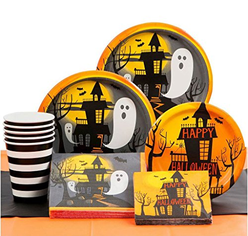 [Halloween Theme Party Supplies Pack - Halloween Plates, Halloween Napkins, Halloween Cups - Spoons - Knives - Forks - Haunted Halloween - Bundle (Serves] (Cute Easy Group Costumes Ideas)