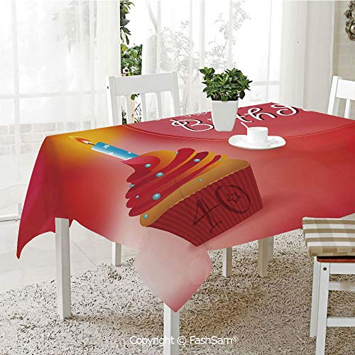 FashSam 3D Dinner Print Tablecloths Sweet Cupcake with a Candlestick Dots and Stars Romantic Tablecloth Rectangle Table Cover for Kitchen(W55 xL72) ()