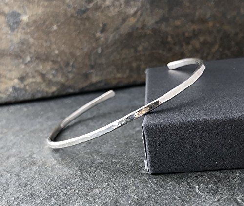 Sterling Silver Hammered Thin Cuff Stacking (Jewelry Sterling Silver Cuff Bracelet)
