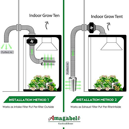"""Amagabeli 4 inch Carbon Filter Odor Control 4 in Air Scrubber with Australia Virgin Coconut Activated Charcoal for Hydroponics Indoor Plants Grow Tent Room for 4"""" Inline Fan Combo Pre-filter Included by AMAGABELI GARDEN & HOME (Image #5)"""