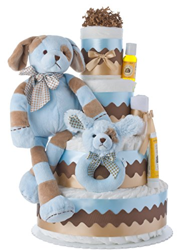 Lil' Baby Cakes Barker the Puppy Dog Diaper Cake for Boys by Lil' Baby Cakes